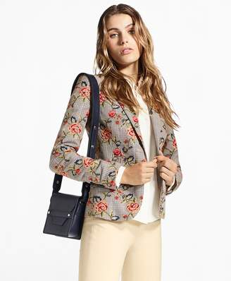 Brooks Brothers Floral-Embroidered Mini-Houndstooth Cotton Jacket