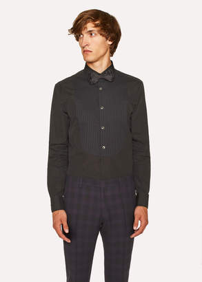 Paul Smith Men's Tailored-Fit Black Pleated-Bib Cotton Evening Shirt With 'Artist Stripe' Double Cuff