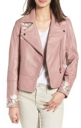 Ted Baker Harmony Embroidered Leather Biker Jacket