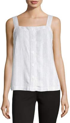 Liz Claiborne Womens Sleeveless Button-Front Shirt