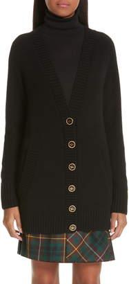 Burberry Elqui Logo Button Cashmere Cardigan
