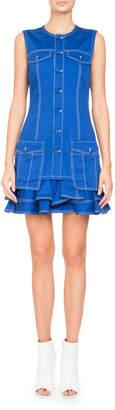 Givenchy Sleeveless Button-Front Cotton Mini Dress w/ Ruffled Hem