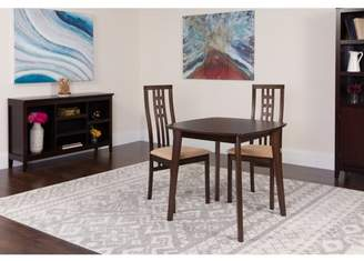 Flash Furniture Weston 3 Piece Espresso Wood Dining Table Set with High Triple Window Pane Back Wood Dining Chairs - Padded Seats