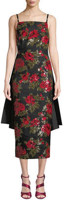 Michael Kors Chine Floral-Embroidered Cocktail Dress w/ Train