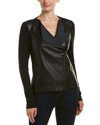 Michael Stars Women's Leather Mix Zip Moto Jacket