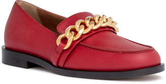 Givenchy Dark red leather chain loafers