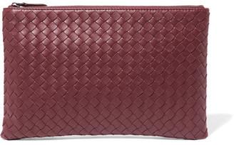Bottega Veneta - Intrecciato Leather Pouch - Burgundy $690 thestylecure.com