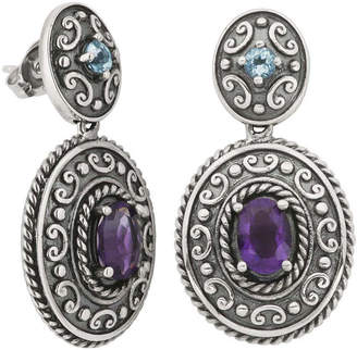 FINE JEWELRY Genuine African Amethyst and Blue Topaz Oxidized Sterling Silver Drop Earrings