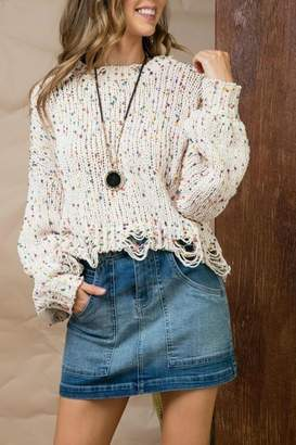 Pretty Little Things Confetti Distressed Sweater