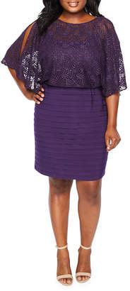 Scarlett 3/4 Sleeve Pattern Sheath Dress - Plus