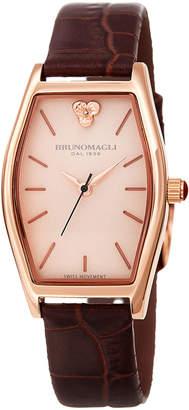 Bruno Magli Chiara Oval Watch w/ Croco Strap, Brown/Rose
