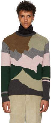 Lanvin Multicolor Intarsia Camo Knit Sweater