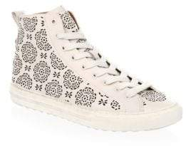 Coach Floral Cutout Leather Hi-Top Sneakers