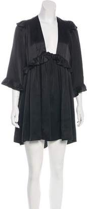 Stone_Cold_Fox Stone Cold Fox Silk Ruffle-Trimmed Dress