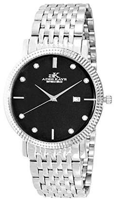 Adee Kaye Men's Link 39.37mm Steel Bracelet Swiss Quartz Watch Ak4801-Mbk