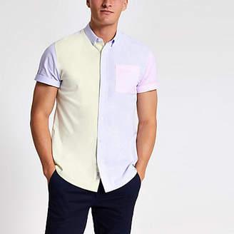 River Island Yellow pastel block short sleeve shirt
