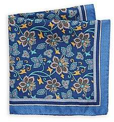 Saks Fifth Avenue Men's Reversible Floral & Geometric Silk Pocket Square