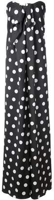 Caroline Constas polka dot strapless gown