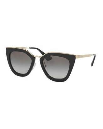 Prada Gradient Metal-Trim Geometric Cat-Eye Sunglasses, Black $355 thestylecure.com