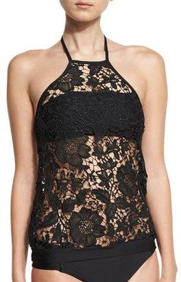 Luxe by Lisa Vogel State of Lace High-Neck Tankini & Bandeau Swim Top $118 thestylecure.com