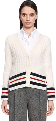 Thom Browne Cashmere Cable Knit Cardigan W/ Stripes