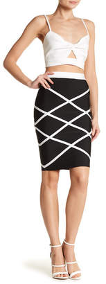 Wow Couture Contrasting Patterned Pencil Skirt