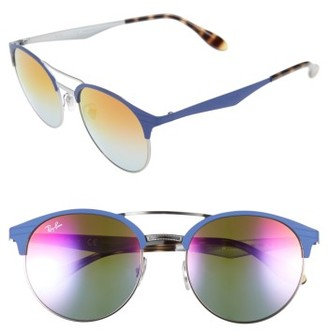 Women's Ray-Ban Highstreet 54Mm Round Sunglasses - Black/ Blue/ Violet $175 thestylecure.com