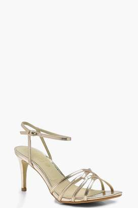 boohoo Low Heel Strappy Metallic Sandals