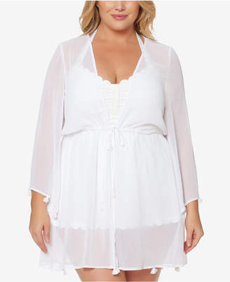 Jessica Simpson Plus Size Tie-Front Tasseled Kimono Cover-Up