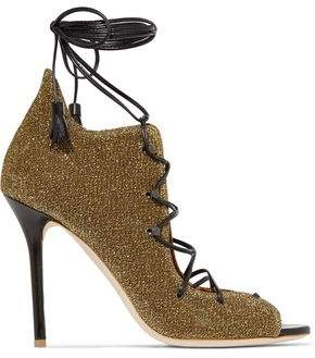 Malone Souliers Savannah Lace-Up Leather-Trimmed Glittered Mesh Sandals