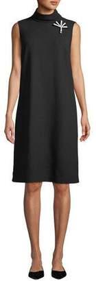 Lafayette 148 New York Lovisa Double-Face Knit Dress with Pin Embellishment