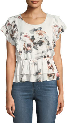 Moon River Belted Floral Flounce Blouse
