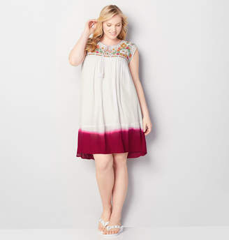 Avenue Embroidered Dip Dye A-Line Dress