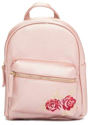 OMG! Accessories Rose Embroidered Pearlized Mini Backpack (Little Girls & Big Girls)