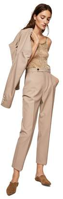 MANGO Brown Wool Blend 'Gerardo-I' Straight Fit Suit Trousers