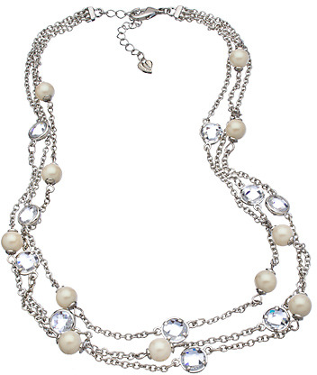 Carolee Silver Pearl and Crystal Triple Row Necklace