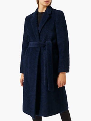 Jigsaw Luxe Belted Coat, Navy