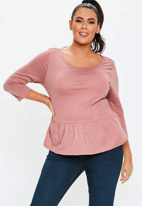 17c63d83f2f77 Missguided Plus Size Pink Peplum Jersey Top