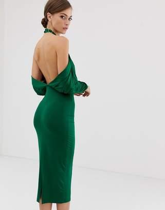 Asos DESIGN slinky high neck blouson sleeve open back midi dress