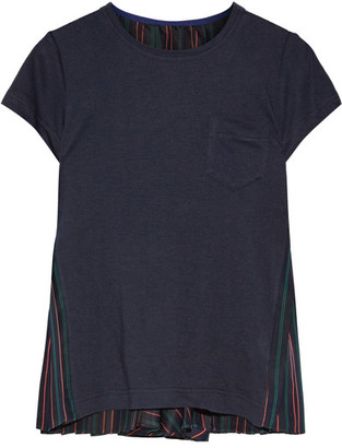 Sacai - Linen-blend Jersey And Striped Satin Top - Midnight blue $430 thestylecure.com