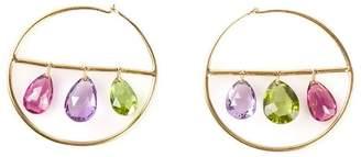 Marie Helene De Taillac 22kt gold drop gemstone hoop earrings