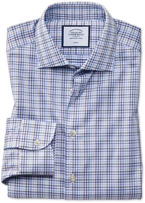 Charles Tyrwhitt Slim Fit Business Casual Non-Iron Blue and Grey Check Cotton Dress Shirt Single Cuff Size 14.5/33