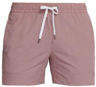 Onia Charles Striped Seersucker Swim Shorts - Mens - Light Orange