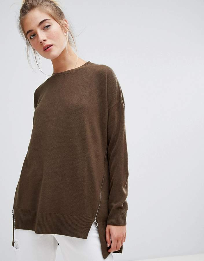 longline jumper with zip detail