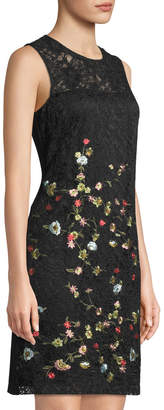 Karl Lagerfeld Paris Embroidered Lace-Front Sheath Dress