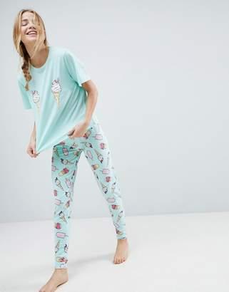 Asos DESIGN Ice Cream Tee and Legging Pajama Set