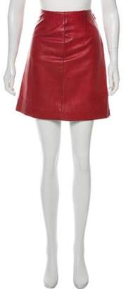 Burberry Leather Mini Skirt Red Leather Mini Skirt