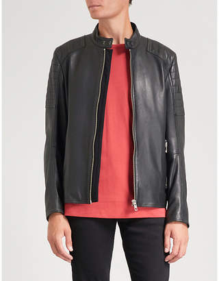 BOSS Quilted shoulder leather jacket