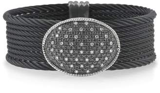 Alor 18K White Gold, Yellow Gold and Black Stainless Steel 1.09ct White Diamond and 0.40ct Black Diamond Bangle