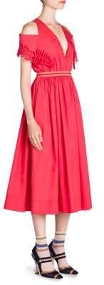 Fendi Taffeta Cold-Shoulder Dress